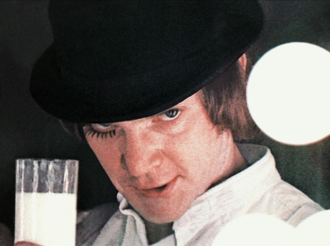 film still from a clockwork orange closeup of malcolm mcdowell