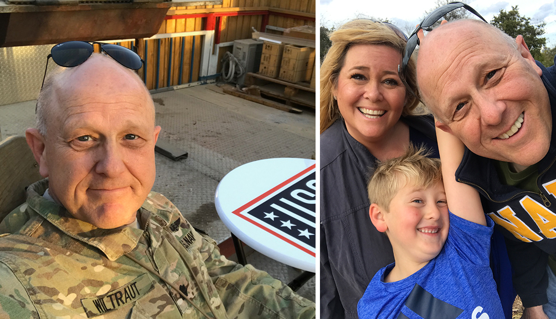 jim wiltraut in afghanistan and today with his family