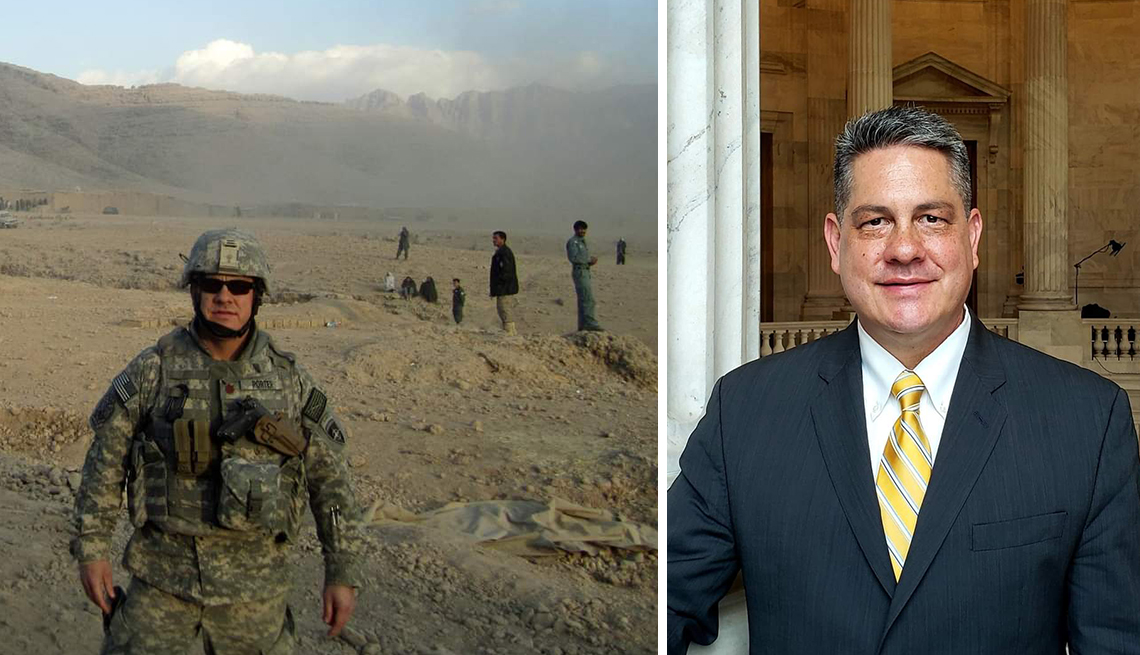 tom porter shown in his service days in afghanistan and currently