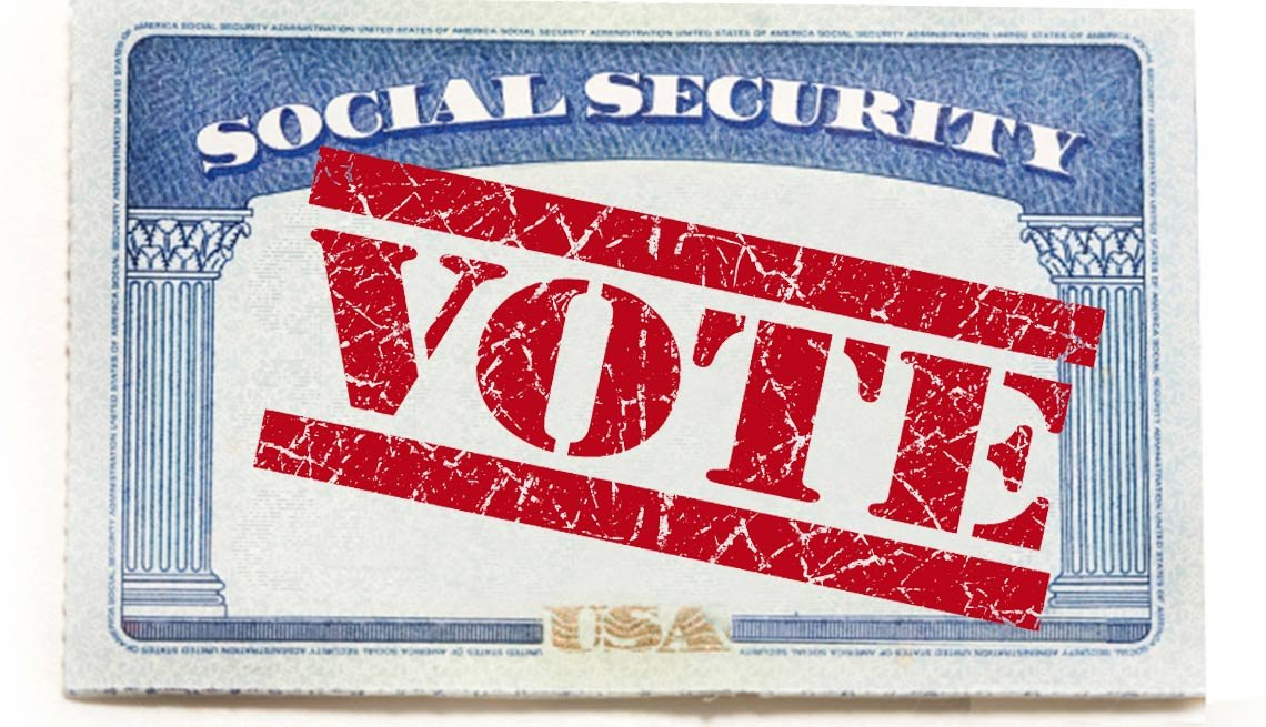 Social security card with vote stamp