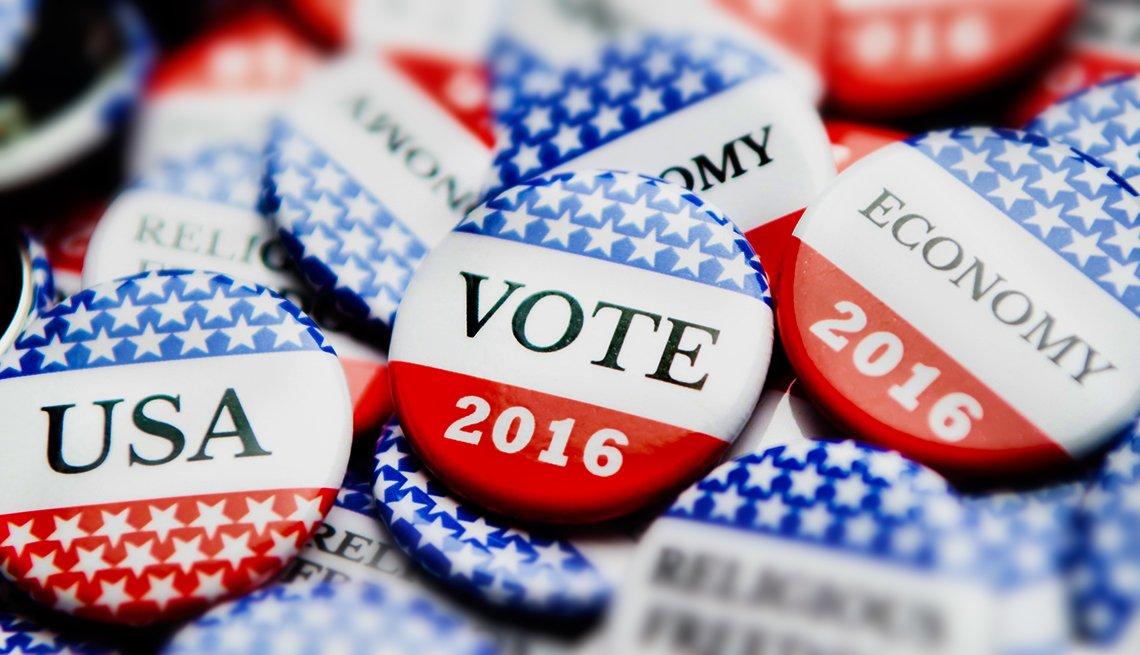 Botones que dicen 'Vote 2016'