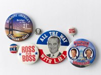 buttons, campaign, presidential, slogans, race, president, office, election, America