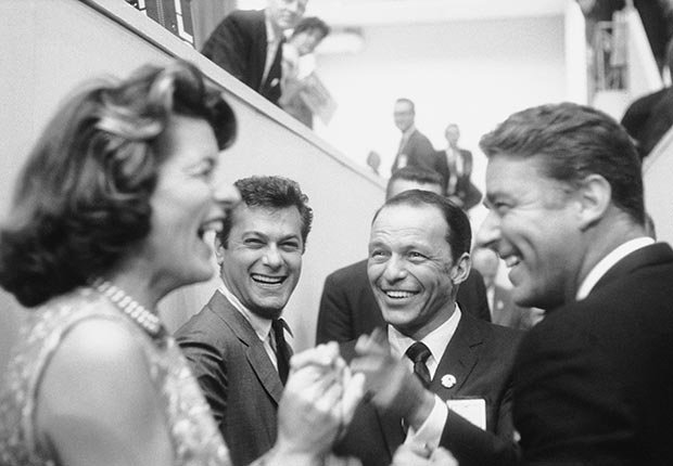 AARP SLIDESHOW - A Who's Who of Celebrity Appearances at DEM Conventions - Frank Sinatra and Tony Curtis