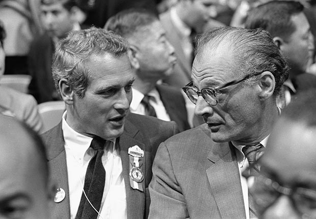 AARP SLIDESHOW - A Who's Who of Celebrity Appearances at DEM Conventions - Paul Newman and Arthur Miller