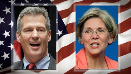Scott Brown and Elizabeth Warren compete for the Senate seat in Massachusetts in 2012