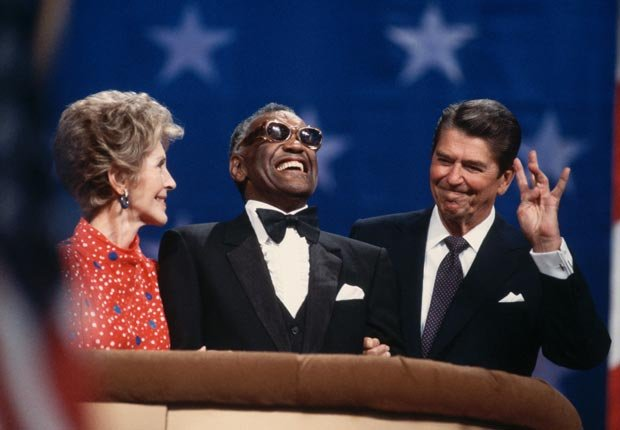 Nancy Reagan, Ray Charles, President Reagan 1984, celebrities at RNC