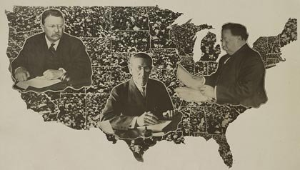AARP quiz on presidential campaign slogans- a map of the united states from the presidential campaign of 1912 in which Woodrow Wilson, Theodore Roosevelt, William Howard Taft, and Eugene V. Debs all ran for president