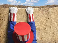 Uncle Sam hanging off a ledge, What you should know about the Fiscal Cliff when listening to the upcoming debates.