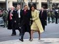 El presidente Barack Obama y la primera dama Michelle Obama, discursos de inauguración