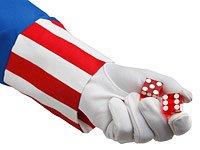 Tío Sam con unos dados en la mano - Los estadounidenses esperan que en Washington se pongan pronto de acuerdo.
