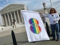 A same-sex marriage supporter outside the U.S. Supreme Court.