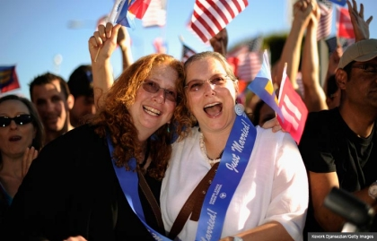 Californians celebrate the Supreme Court ruling that overturned DOMA. What rights and benefits will same-sex couples have after DOMA? (Kevork Djansezian/Getty Images)