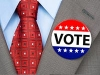 Man wearing a vote button on suit. Politics and Government. (Joe Belanger/Alamy)