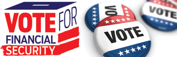 Political buttons, AARP Voter Guide