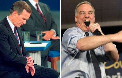 George H.W. Bush y Howard Dean en debates políticos