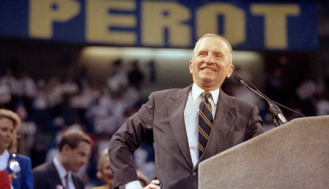 Ross Perot, durante un campaña presidencial