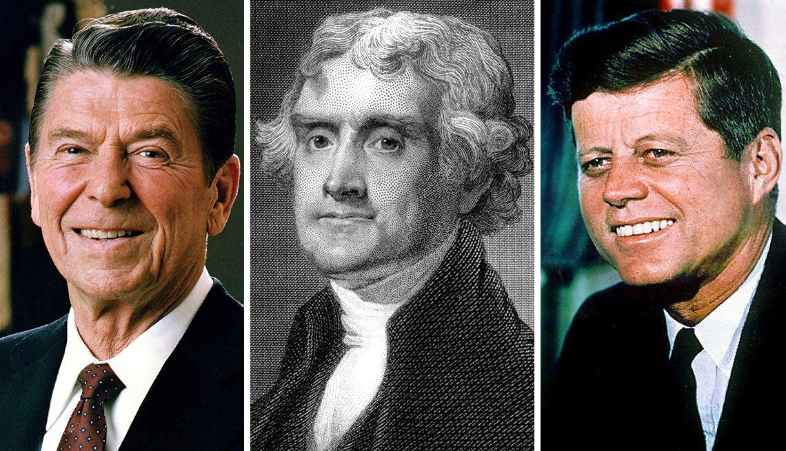 Ronald Reagan, Thomas Jefferson y John F. Kennedy