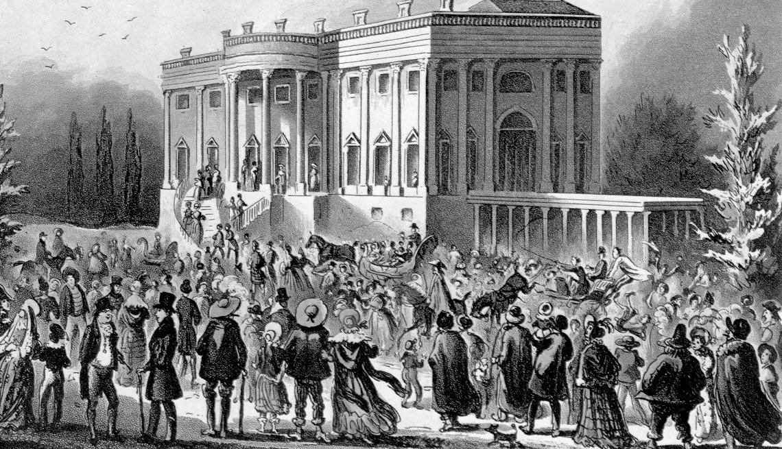 memorable inauguration moments - In 1829, Andrew Jackson escaped the crush of an adoring mob that poured into the White House