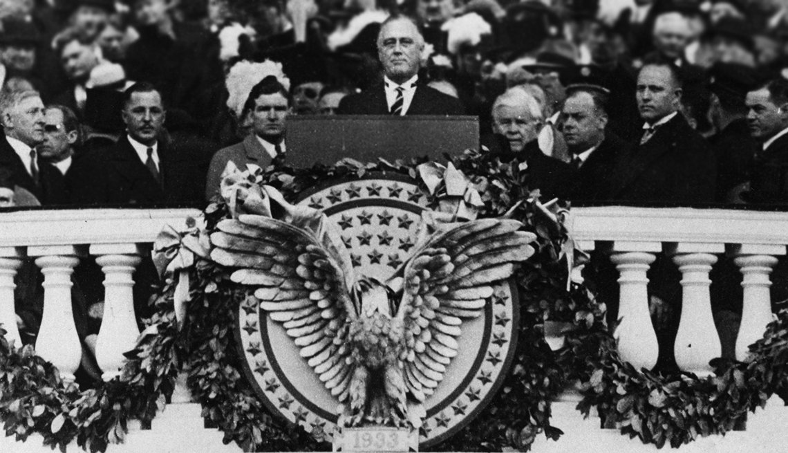 """memorable inauguration moments -""""The only thing we have to fear is fear itself,"""" a beaming Franklin D. Roosevelt declared in 1933"""