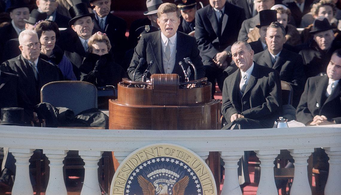John F. Kennedy durante su discurso inaugural