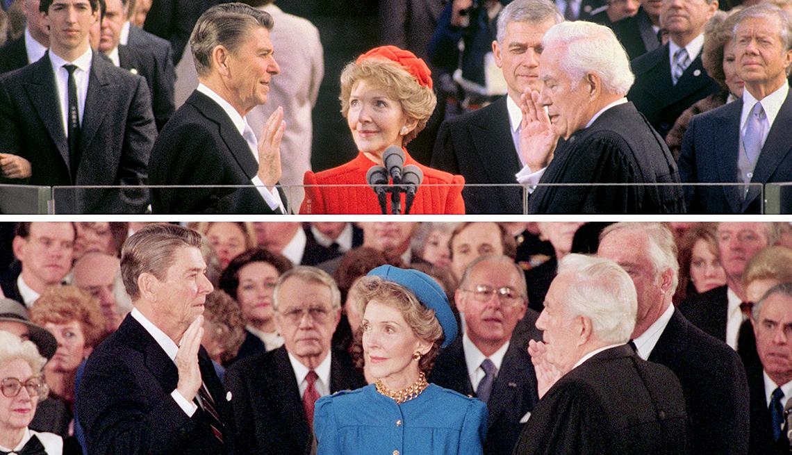 Ronald Reagan junto a su esposa durante sus dos juramentaciones