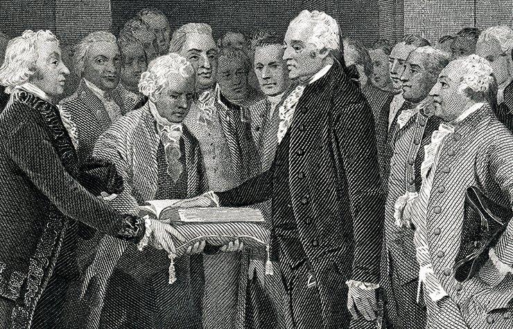 George Washington siendo juramentado como presidente