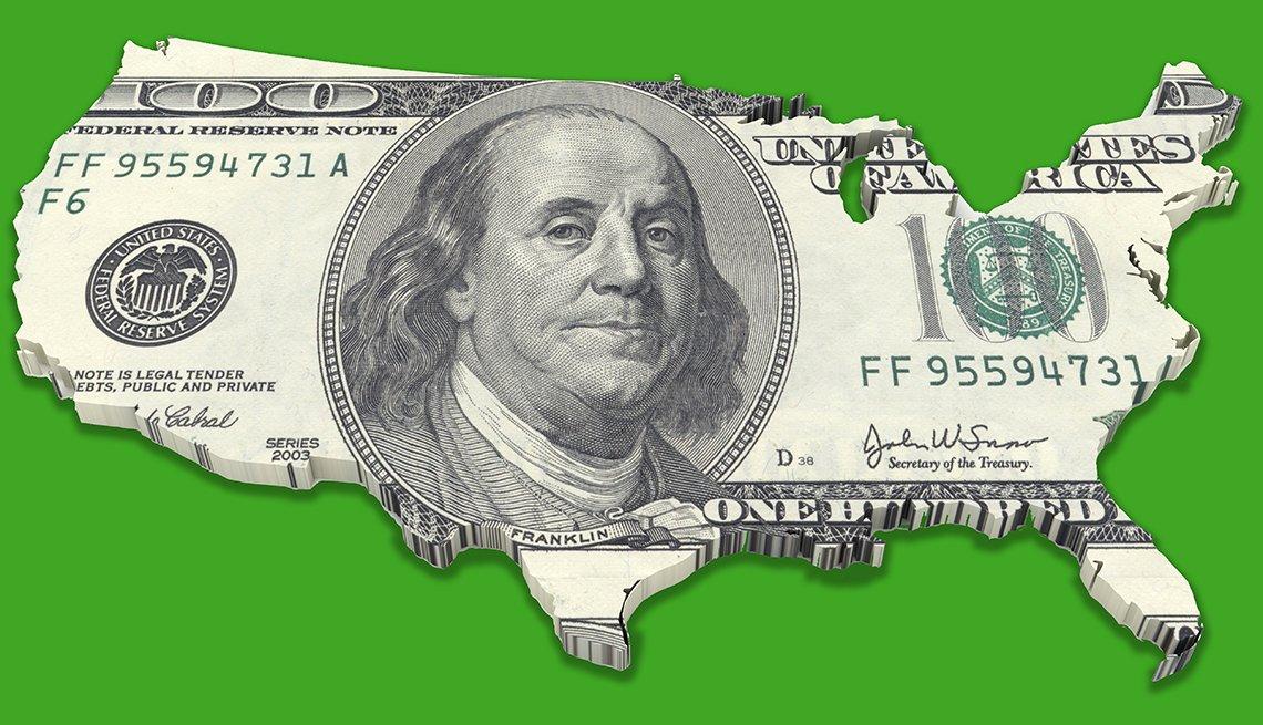 Billete de cien dólres sobre el mapa de los Estados Unidos
