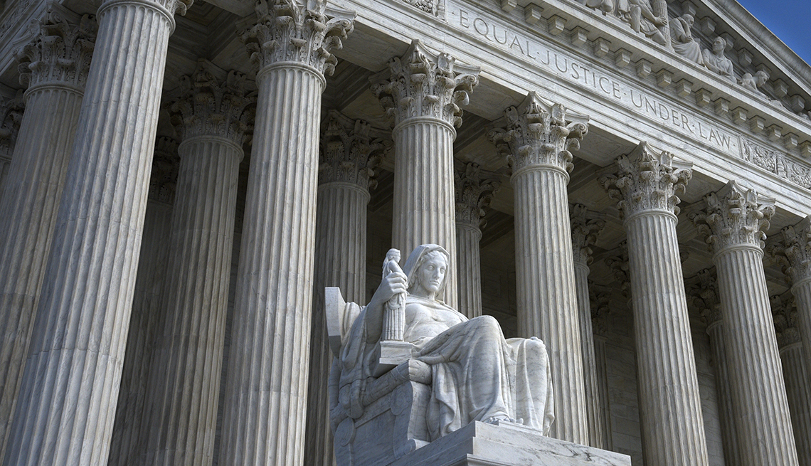 Picture outside the Supreme Court, engraving on building reads Equal Justice Under Law