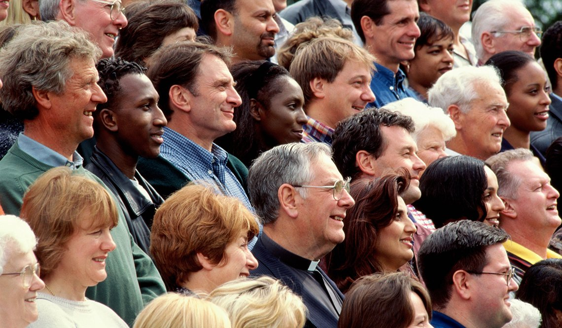 Diverse crowd of people in profile