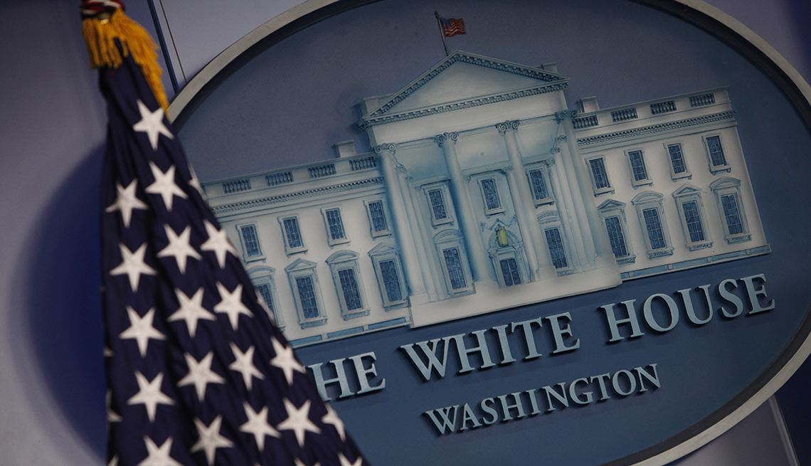 White House logo with the American flag