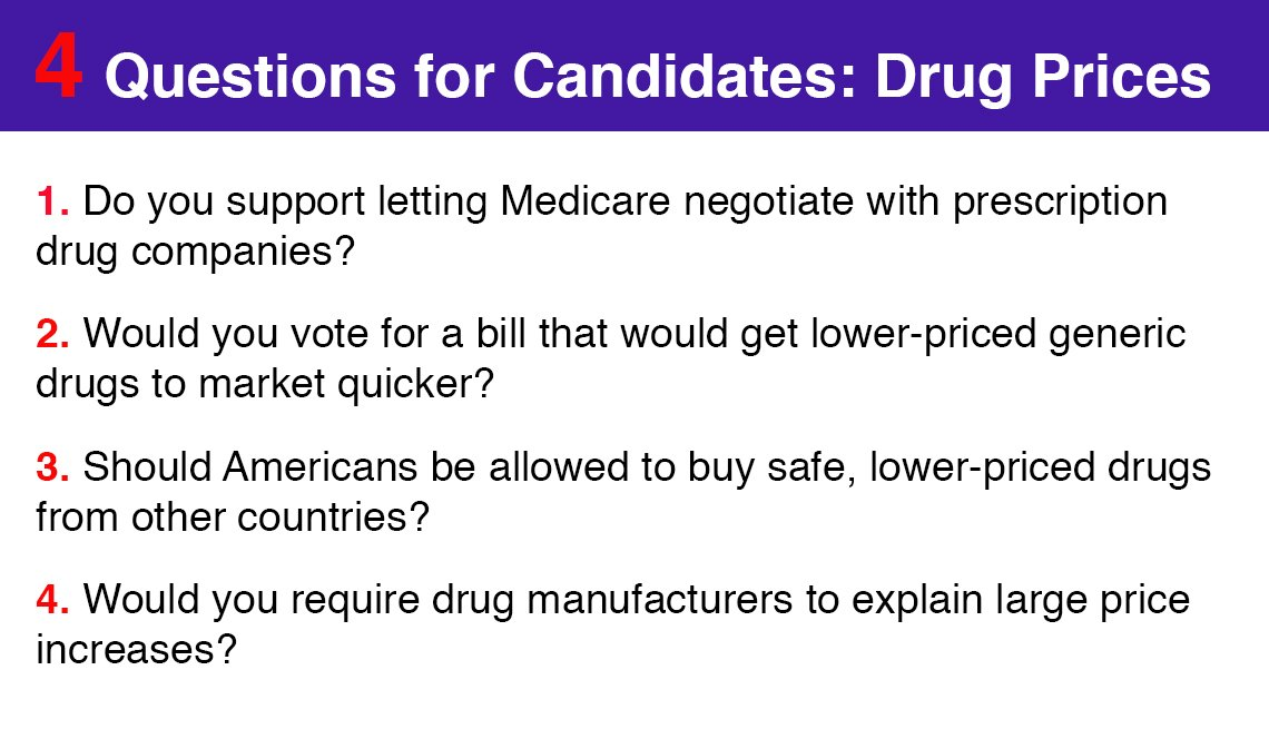 Four questions for candidates regarding drug prices.