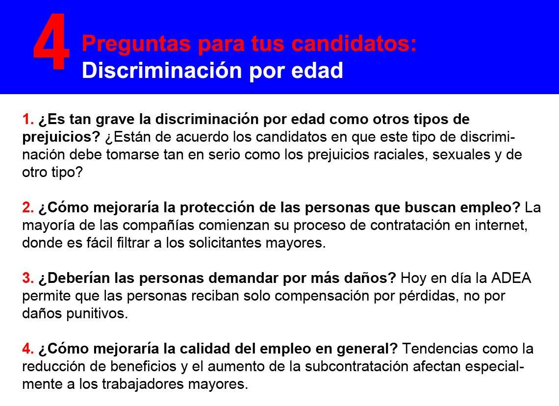 Imagen con preguntas sobre discriminación por edad.