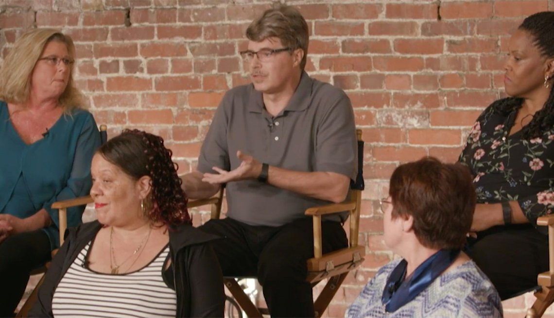 People speaking at a focus group