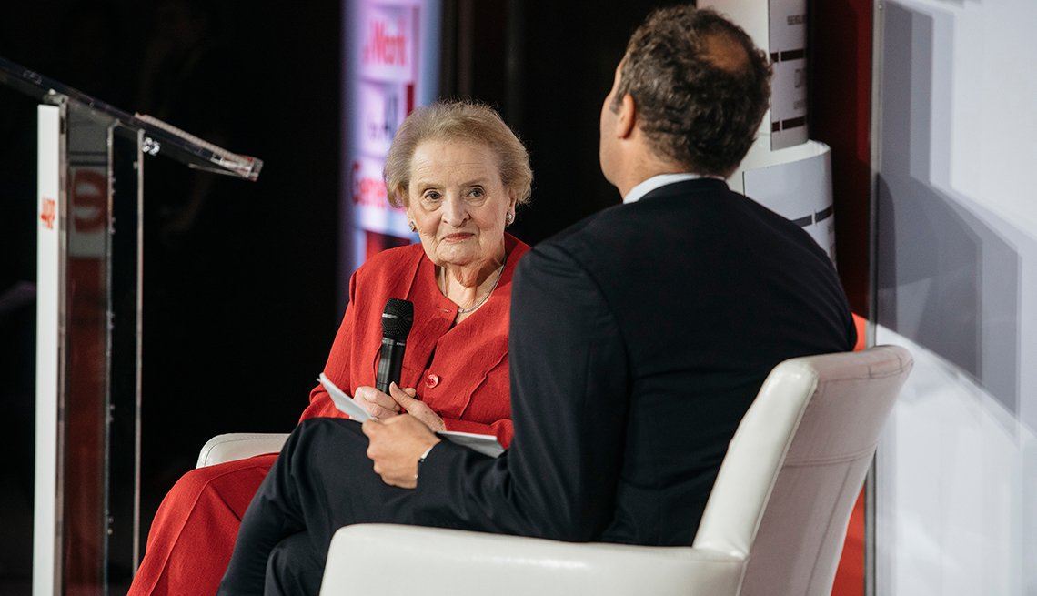 Madeleine Albright talks at an A A R P conference