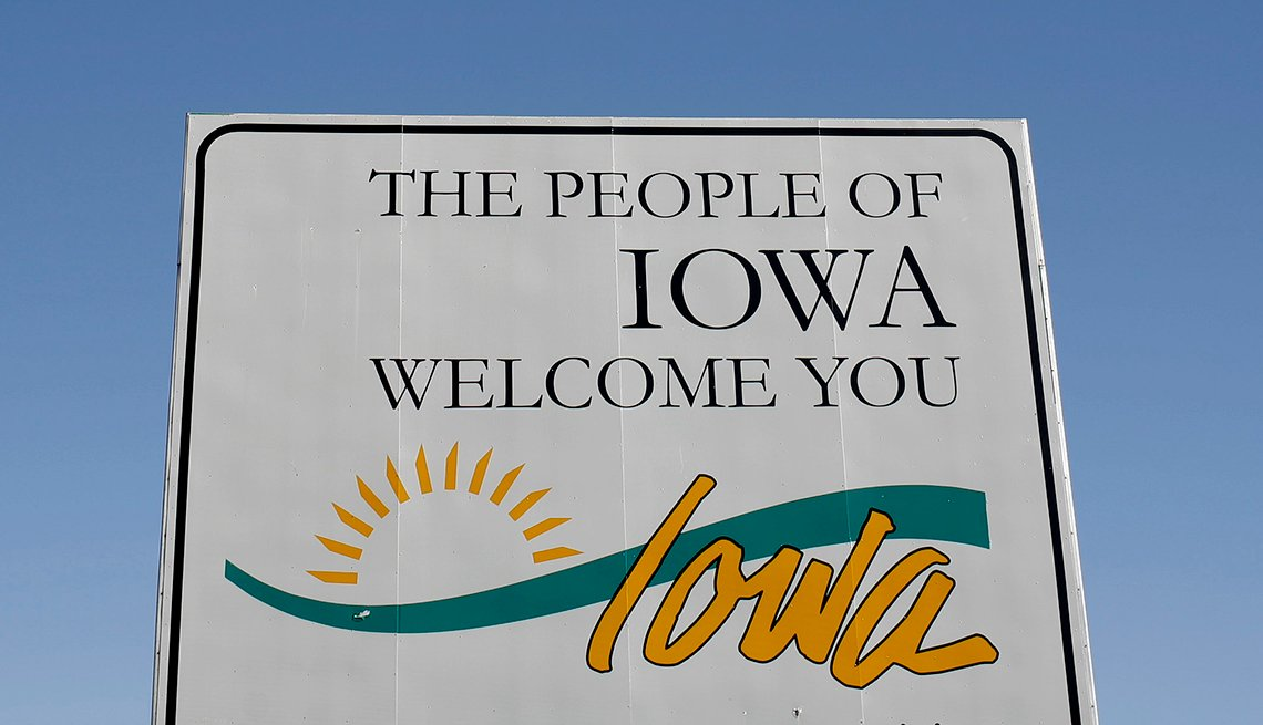 Cartel de bienvenida de Iowa