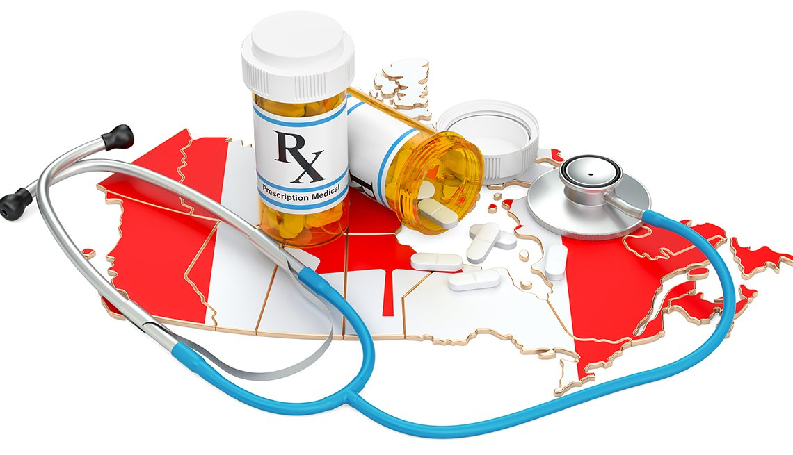 Map of Canada with prescription drugs and a stethoscope