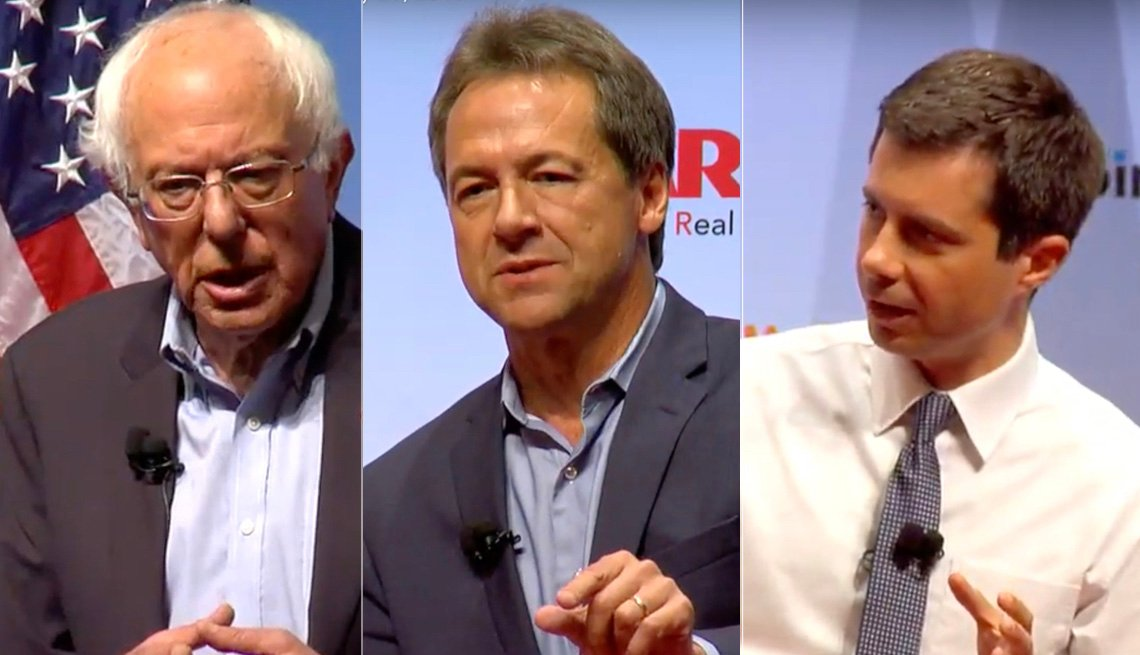 Bernie Sanders, Steve Bullock y Pete Buttigieg.