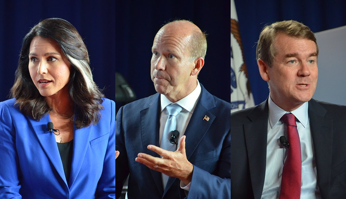 photos of candidates Tulsi Gabbard, John Delaney, and Michael Bennet at the July 17 Iowa forum