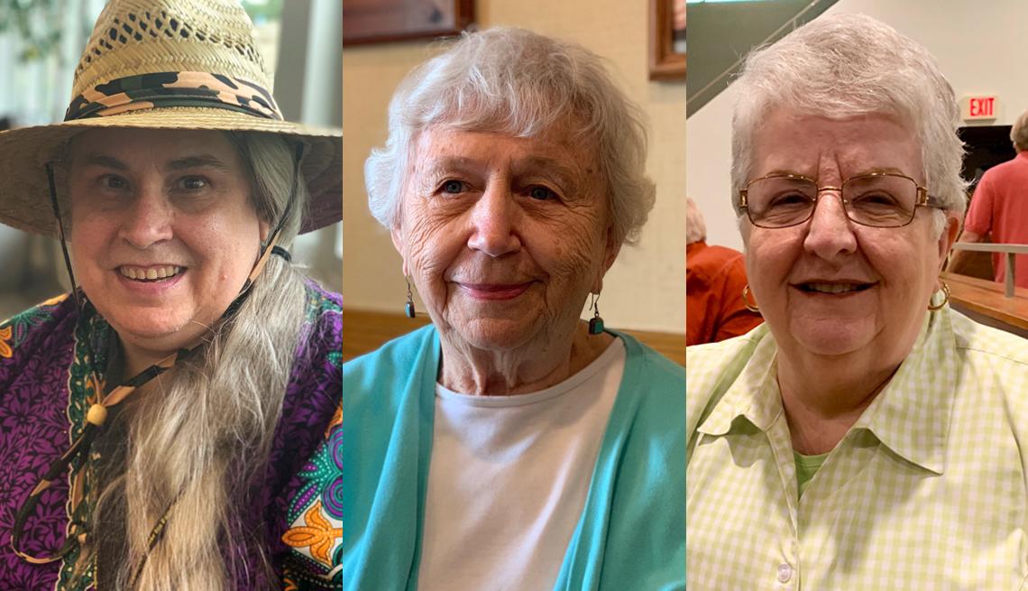 iowa voters Jennifer Patel, Jan McElhiney, and Mardean Wilcox
