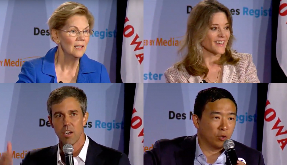 democratic presidential candidates at a a r p's july 19 forum - Elizabeth Warren, Marianne Williamson, Beto O'Rourke, and Andrew Yang.
