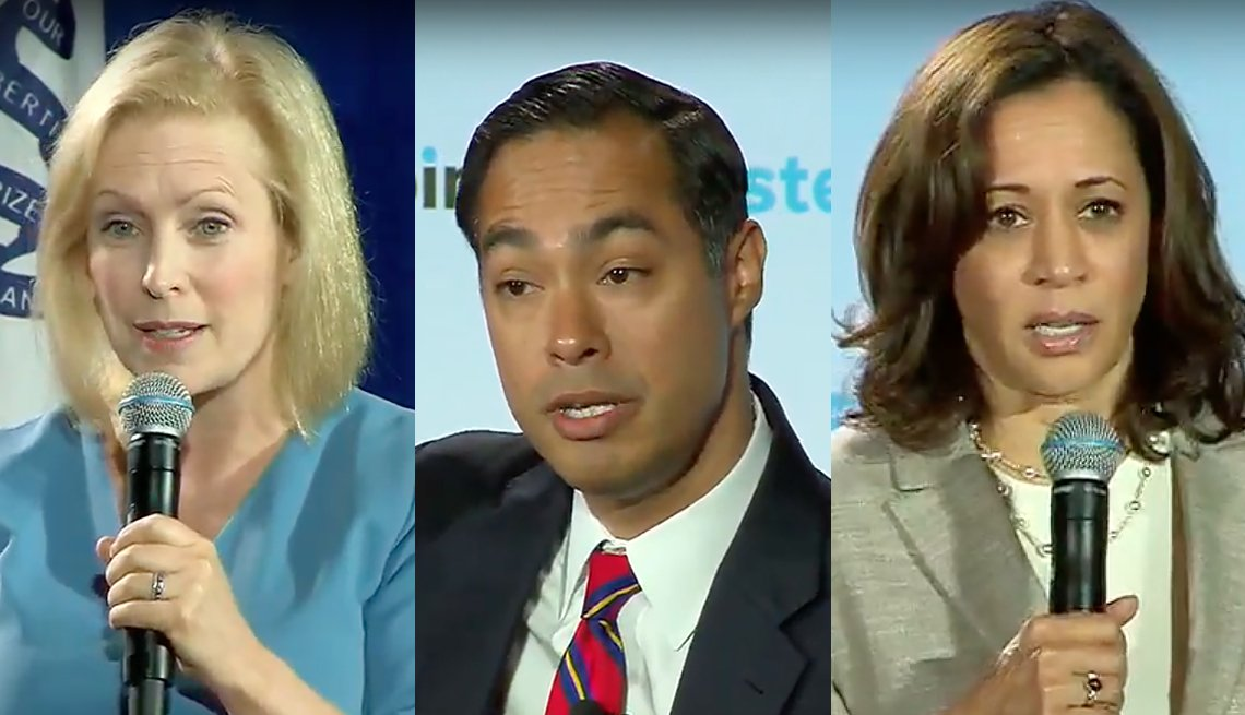 photos of candidates Kirsten Gillibrand, Julian Castro, and Kamala Harris speaking during the Iowa forums on July 16
