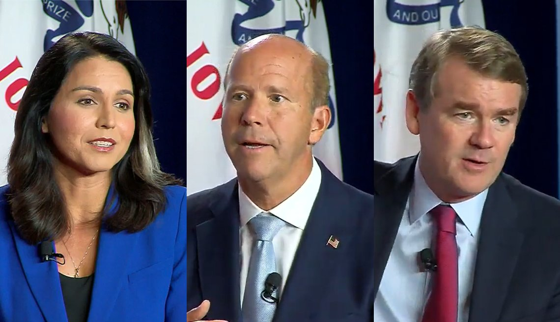 2020 democratic presidential candidates Tulsi Gabbard, John Delaney, and Michael Bennet