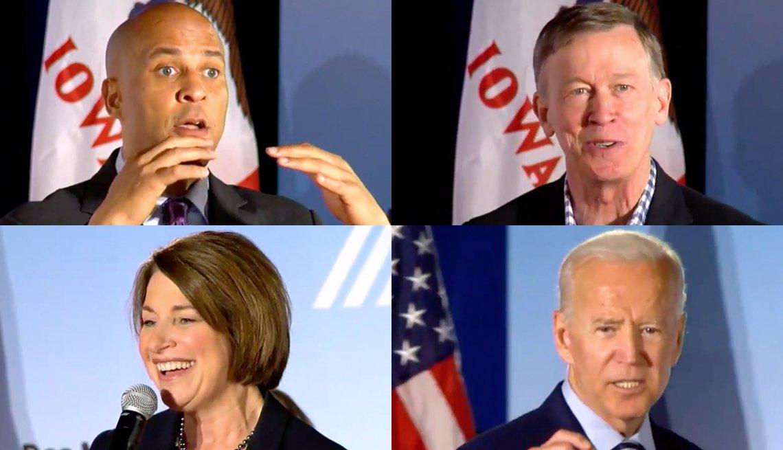 Cory Booker, John Hickenlooper, Amy Klobuchar y Joe Biden