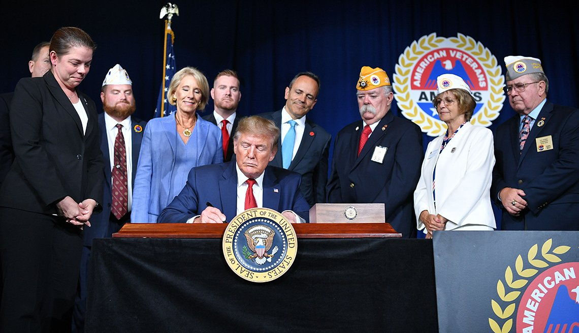 President Donald Trump signing a paper at a desk with people standing behind him