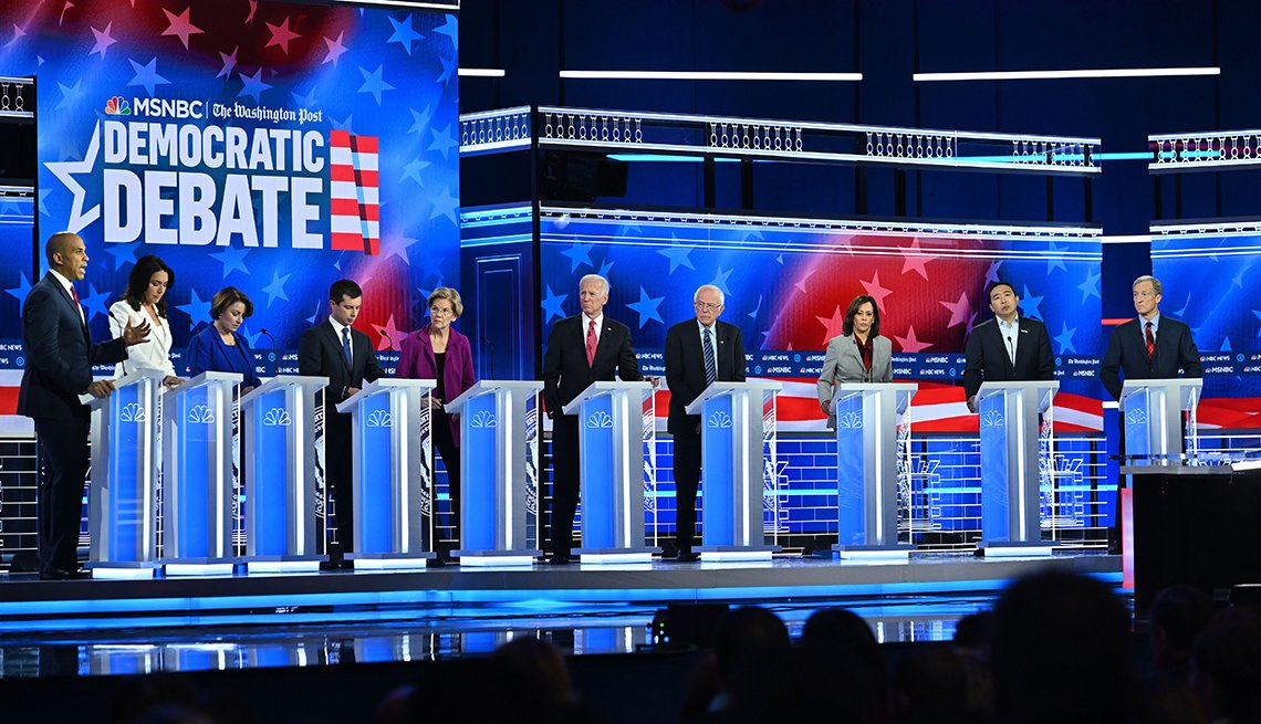 Candidates for the democratic party nomination for president on the debate stage