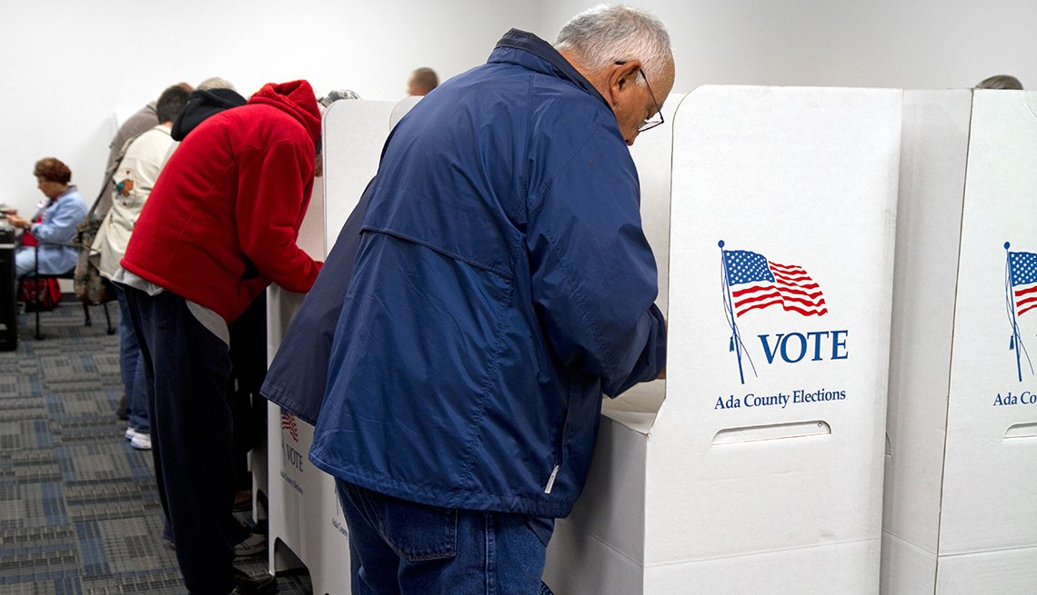 People voting at voting booths during an election