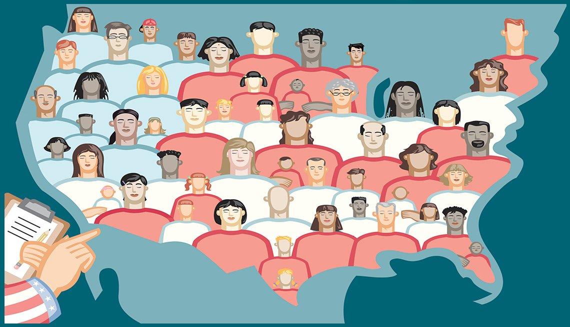 Una mano sostiene un portapapeles y cuenta las caras multiculturales en el mapa de Estados Unidos