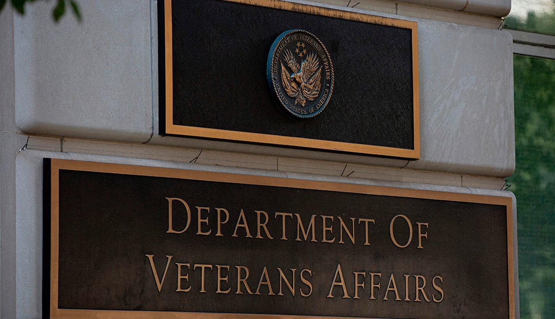 A sign for the Department of Veterans Affairs