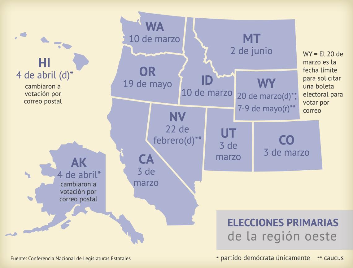 Mapa muestra las fechas de las elecciones primarias en la región oeste de Estados Unidos