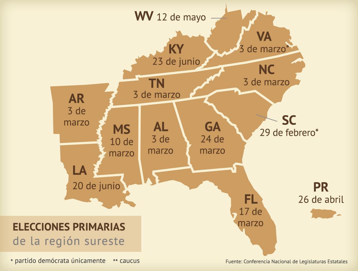 Mapa muestra las fechas de las elecciones primarias en la región sureste de Estados Unidos